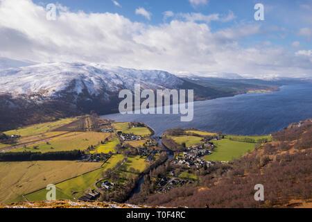 The village of Kinloch Rannoch and Loch Rannoch in winter viewed from Craig Var,Perthshire Scotland Great Britain UK - Stock Image
