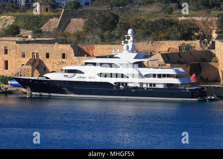 The 40-metre Lurssen superyacht Martha Ann at Marsamxett Harbour, Malta - Stock Image