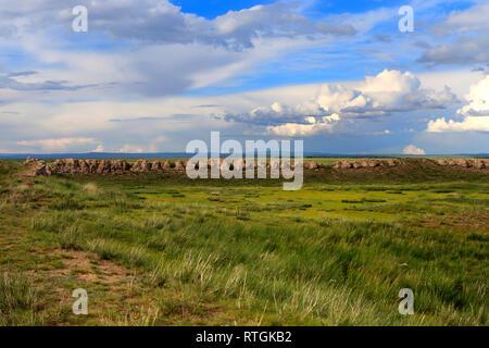 Ordu-Baliq, ruins of ancient Uyghur capital near Kharakhorin, Mongolia - Stock Image