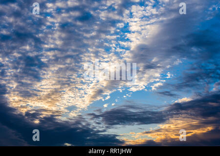 Early morning mottled clouds and sky - France. - Stock Image