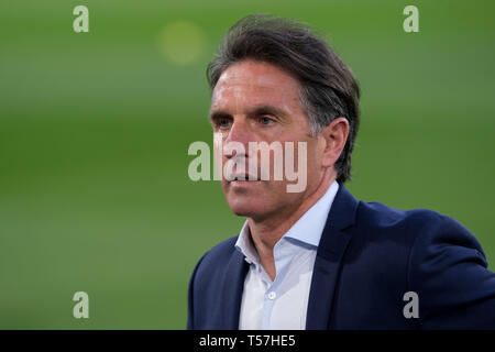 Wolfsburg, Germany. 22nd Apr, 2019. Soccer: Bundesliga, 30th matchday: VfL Wolfsburg - Eintracht Frankfurt in the Volkswagen Arena. Wolfsburg coach Bruno Labbadia is in the arena before the match. Credit: Peter Steffen/dpa - IMPORTANT NOTE: In accordance with the requirements of the DFL Deutsche Fußball Liga or the DFB Deutscher Fußball-Bund, it is prohibited to use or have used photographs taken in the stadium and/or the match in the form of sequence images and/or video-like photo sequences./dpa/Alamy Live News - Stock Image