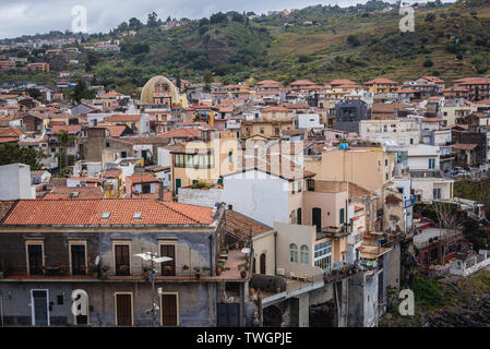 Aerial view from castle in Aci Castello comune in the Metropolitan City of Catania on Sicily Island in Italy - Stock Image