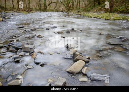 River Wyre, Llanrhystud, frozen during extreme cold weather, March 2018, Wales, UK - Stock Image