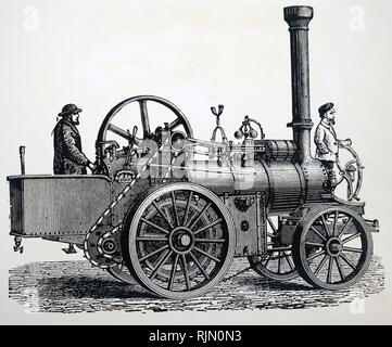 Illustration showing steam road locomotive with chain drive. 1888 - Stock Image