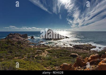 Dramatic Sugarloaf Rock in Indian Ocean off Cape Naturaliste in Western Australia. - Stock Image