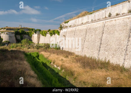 the vauban fortifications of Saint Martin de Re on a sunny day with a blue sky - Stock Image