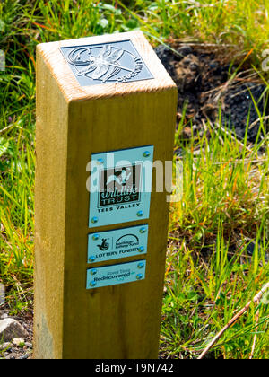 A marker post with information where butterflies may be found   Coatham Marsh Nature Reserve managed by the Cleveland Wildlife Trust in Spring - Stock Image