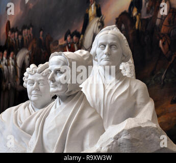 Statue of the Suffragettes Elizabeth Stanton, Susan B. Anthony and Lucretia Mott by Adelaide Johnson in the US Capitol Rotunda in Washington DC - Stock Image