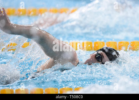 Freya Anderson competing in the Women's 100m Freestyle final during day four of the 2019 British Swimming Championships at Tollcross International Swimming Centre, Glasgow. - Stock Image