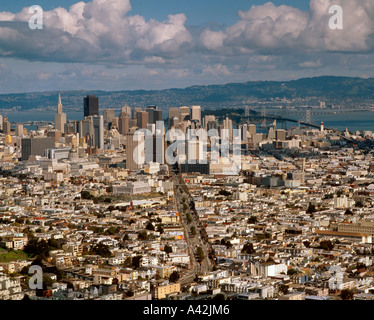 USA Los Angeles panoramic view downtown LA skyline - Stock Image