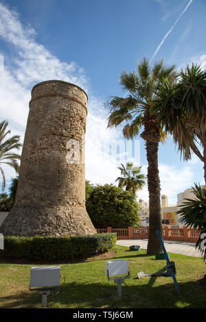 Watch tower, Plaza de la Goleta, Benalmádena, Andalusia, Spain - Stock Image