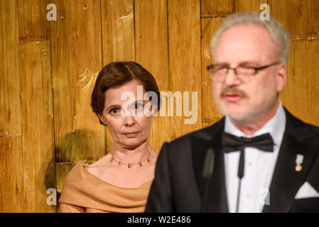 Riga, Latvia. 8th July 2019. Andra Levite and Egils Levits, during Reception in honour of the inauguration of President of Latvia Mr Egils Levits accompanied by First Lady of Latvia Mrs Andra Levite. Credit: Gints Ivuskans/Alamy Live News - Stock Image