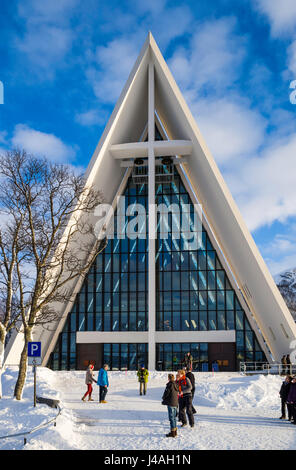 The 'Arctic Cathedral' or Tromsdalen church, a landmark of Tromsø, northern Norway, was completed in - Stock Image