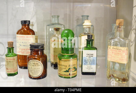 Collection of Victorian medicine bottles inside Chelmsford Museum, Chelmsford, Essex, UK - Stock Image
