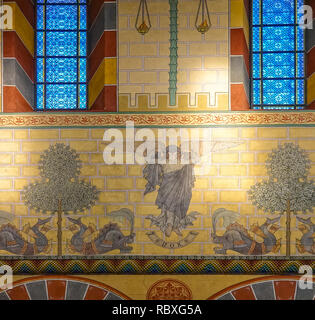 Koenigslutter, Germany, January 3., 2019: Wall painting with an angel with wings, trees and talking fish on the wall in the cathedral of Königslutter, - Stock Image