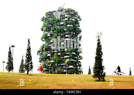 Vertical forest tower in 'Library of Trees Park', Milan, Italy - Stock Image