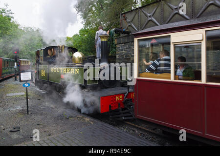 Narrow gauge locomotive Lyd of the Festiniog Railway Company at Tan y Bwlch station in North Wales - Stock Image