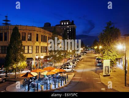 Asheville, North Carolina. Grove arcade at night. - Stock Image