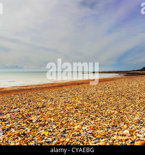 seaside with pebbles beach - Stock Image