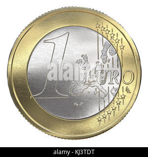 One Euro Coin. Front view, Isolated.  3d Render. - Stock Image