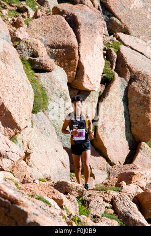 Touru Miyahara winning the rugged Pikes Peak Ascent trail race up 14,115 foot Pikes Peak on the Barr Trail near - Stock Image