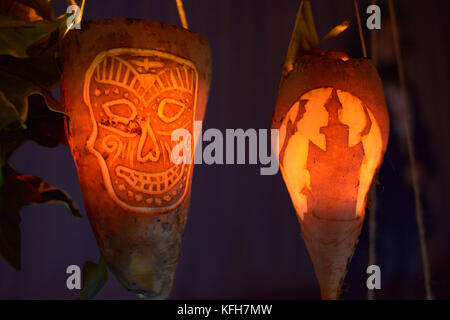 'Punkies' for 'Punkie Night' Turnips carved for halloween as a local tradition in the village of - Stock Image