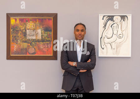 Bonhams, New Bond Street, London, UK. 18 March, 2019. Leading the sale, which takes place on 20 March 2019, are works by Benedict Chukwukadibia Enwonwu and Gerard Sekoto. Image: Costume Designer and Creative Director Roubi L'Roubi, curator of the Saatchi Gallery's exhibition 'Forests and Spirits: Figurative Art from the Khartoum School', has curated a section of the African Art sale. The auction features work chosen by L'Roubi in a section called Creative Currents of the Nile. Credit: Malcolm Park/Alamy Live News. - Stock Image