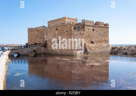 Paphos Medieval Castle in Paphos Harbour, Paphos (Pafos), Pafos District, Republic of Cyprus - Stock Image