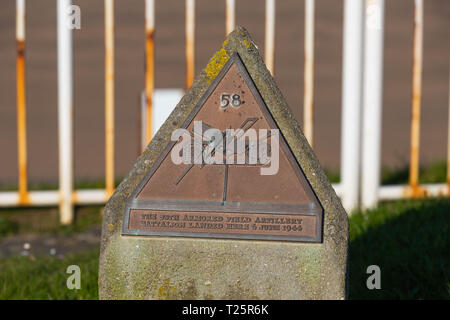 58th Armored Field Artillery Memorial Stele located at Omaha Beach, Normandy, France - Stock Image