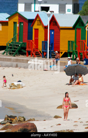 south africa eastern cape Muizenberg colorful beach huts - Stock Image