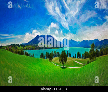 DIGITAL ART: Lake Tegernsee, Bavaria, Germany - Stock Image