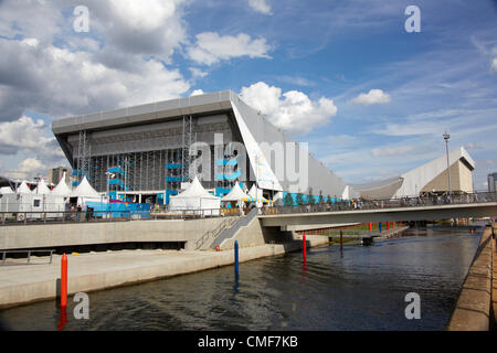 Water Polo Arena on a sunny day at Olympic Park, London 2012 Olympic Games site, Stratford London E20 UK, - Stock Image