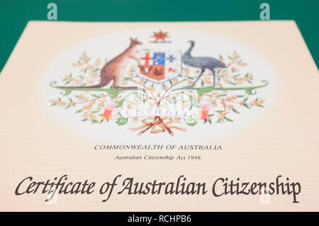 Detail of a Certificate of Australian Citizenship. - Stock Image
