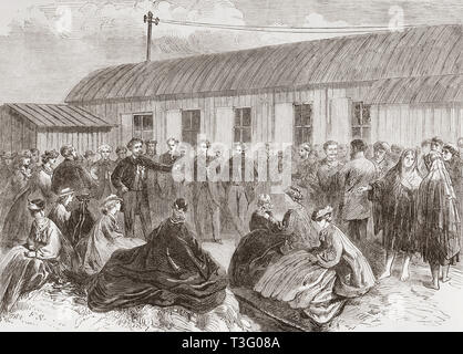 The laying of the Atlantic Telegraph Cable.  Sir Robert Peel addressing the bystanders after connecting the shore end of the cable with the telegraph house at Foilhommerum Bay, Valentia Island, Ireland.  From The Illustrated London News, published 1865. - Stock Image