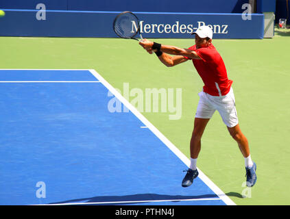 New York, USA – August 25, 2018:  Atmosphere about during Us Open Championship Kids Day (Arthur Ashe Kids' Day) US Open champion Novak Djokovic on sta - Stock Image