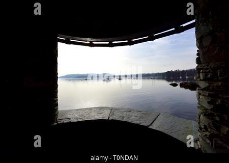 Tourist viewpoint,Lake Windermere,Ambleside,Lake District,Cumbria,England,UK - Stock Image