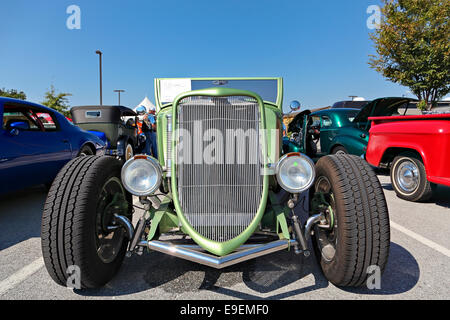 Green 1933 Ford Roadster with front view during car show in Springdale, Arkansas. - Stock Image