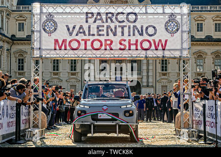 Piedmont Turin - Turin auto show 2019  - Valentino park - Valentino castle  - Cutting of the Second Inaugural Tape of the Smart Road' project car with autonomous driving on the road - Stock Image