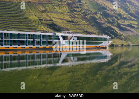 Moselle River Cruise ship Vista Sta,  sailing past vineyards in the Moselle Valley, Germany, Europe - Stock Image