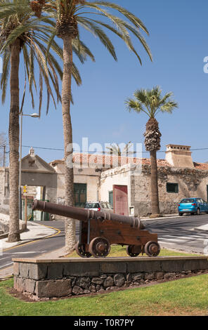 Old cannon  outside Casa Fuerte, a fortified sugar refinery, in Adeje, Tenerife, Canary Islands. - Stock Image