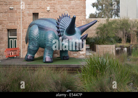 Inflatable blow up toy dinosaur being used to promote the Dinasour Discovery event at the Perth museum, Western - Stock Image