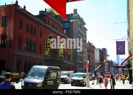 NEW YORK, NY - AUGUST 28: Front side of the Joe's Pub building, host to The Public Theatre at Lafayette Street in NoHo on August 28th, 2014, Manhattan - Stock Image