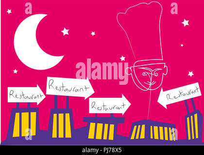 Restaurant signs and chef balloon.  illustration of restaurant building with restaurant signs. - Stock Image