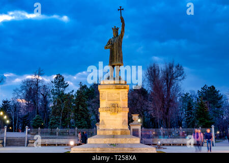 Bronze statue of Stephen the Great in Chișinău, Moldova - Stock Image