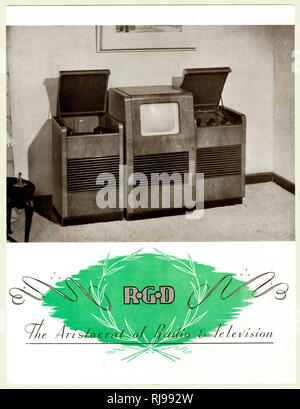 A state-of-the=art home entertainment centre - matching units contain record player, television and radio.  The screen may be small, but just admire the finish ! - Stock Image