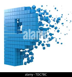 letter P shaped data block. version with blue cubes. 3d pixel style vector illustration. suitable for blockchain, technology, computer and abstract th - Stock Image