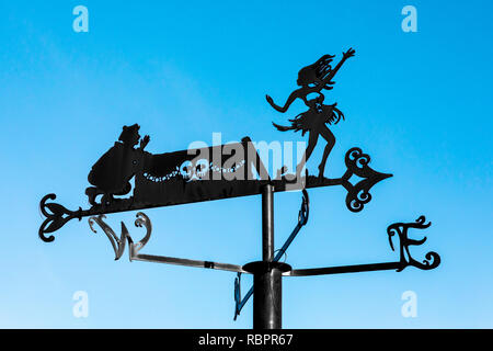 Weather vane in the shape of a tribute to 'Holy Willie's Prayer' a poem by the famous Scottish Bard, Robert Burns, Alloway Burns Museum, Ayr, Scotland - Stock Image