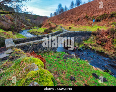 Goyt's packhorse bridge at Goytsclough on the river Goyt in the Goyt Valley, one of the most beautiful areas - Stock Image