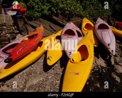Canoes used for teaching students to canoe on the River Yealm, Newton Ferrers, Devon, UK - Stock Image