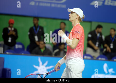 Pune, India. 4th January 2019. Kevin Anderson of South Africa reacts after winning his semi-final match of singles competition at Tata Open Maharashtra ATP Tennis tournament in Pune, India. Credit: Karunesh Johri/Alamy Live News - Stock Image